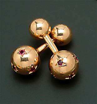 """A PAIR OF 14K YELLOW GOLD & RUBY """"BARBELL"""