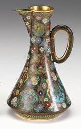 10700: Japanese cloisonne Kyoto school ewer, in the sty