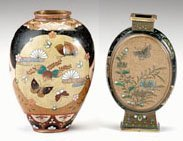 10713: Two Japanese cloisonne vases, both in the style