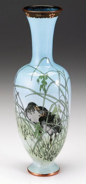 10718: Japanese cloisonne vase, attributed to Namikawa