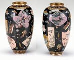 10722: Pair of Japanese cloisonne vases, in the style o