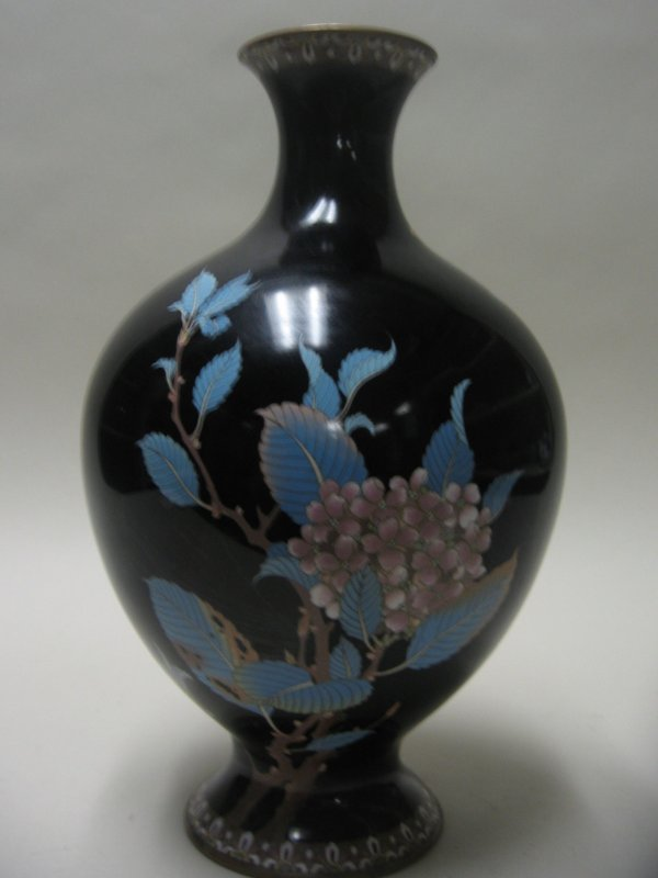 10723: Japanese cloisonne vase, attributed to goto, lat