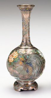 10948: Japanese silver and enamel vase, late 19th centu