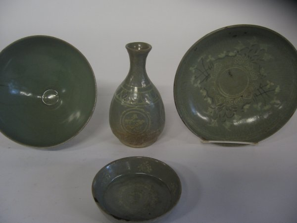 11234: Four Korean celadon items, mostly koryo dynasty,