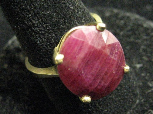 1: Lady's Two Carat Oval Ruby Ring, , Set in a plain 14