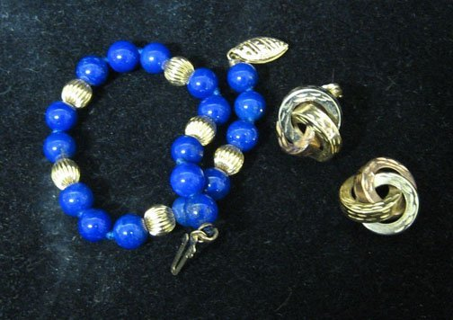9: Lady's Lapis and Gold Ball Bracelet and Tri-Colored