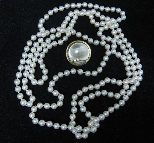 11: Two piece ladies pearl necklaces, , Together with a