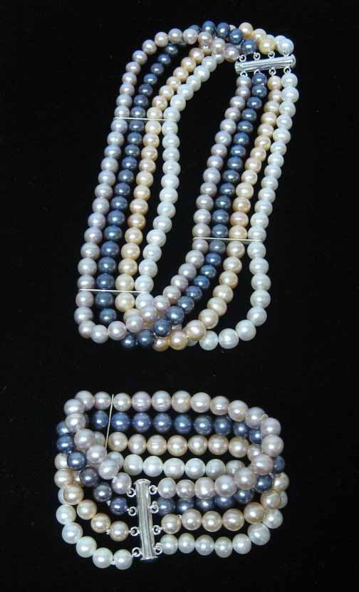 14: Two piece Lady's 4 Strand Bracelet and Choker, , St