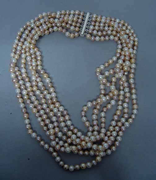 17: Lady's 6 Strand Pearl Necklace, , The graduated nec