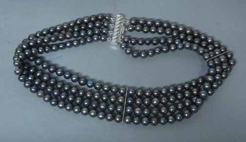 21: Grey 4 Strand Pearl Necklace, , L: 14 1/2 in.