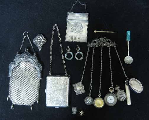 107: Ten piece sterling group, , Including chatelaine,