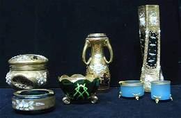 451 Seven piece Bohemian Glass Group  Including a fl