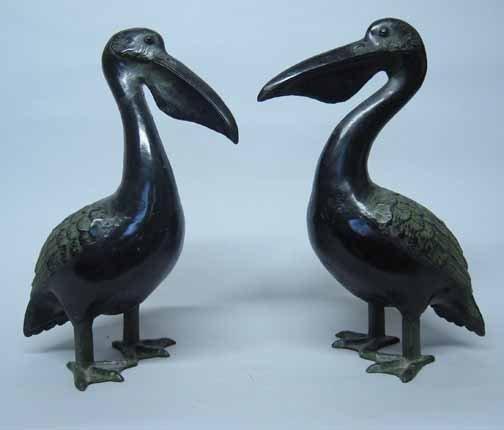 582: Pair of Bronzed Pelican Figures, , In the standing