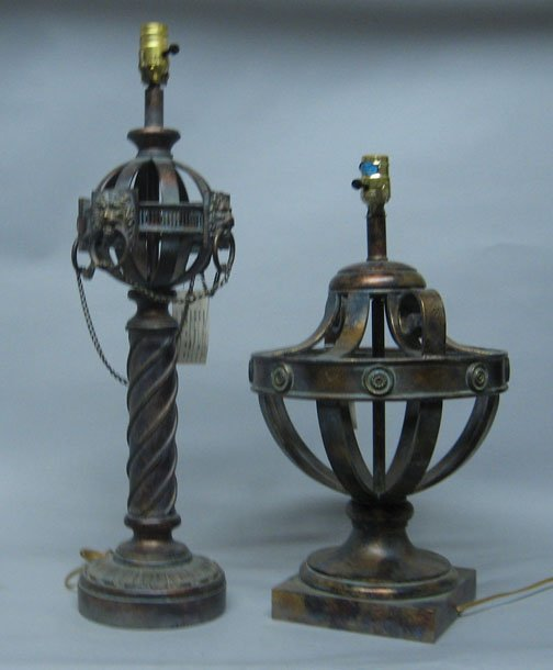 583: Two metal lamp bases, , The larger with lion's hea