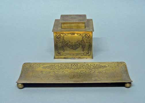 585: Two piece Art Nouveau style desk set, , A pen tray