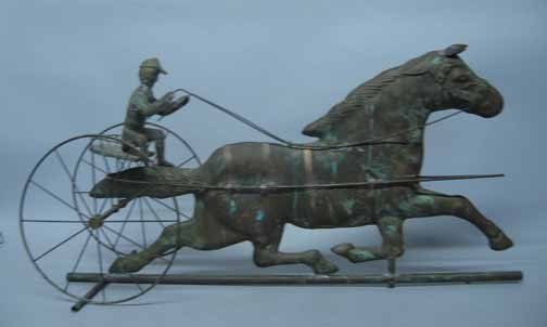 590: 20thc. Copper Weathervane, , Of a horse, cart and