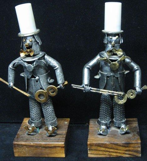 591: Pair of Spanish mood lamps, , Painted metal, each