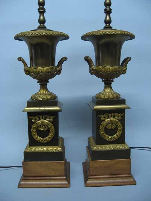 600: A Pair of Urn Form Table Lamps, , The bronzed and