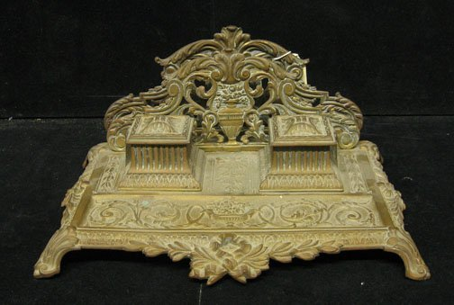 603: French Brass Inkstand, , Having a pierced scroll a