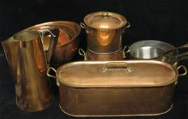617 Large group of assorted copper pots and other copp
