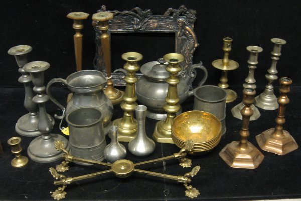 701: Group of candlesticks and metal items, , Including