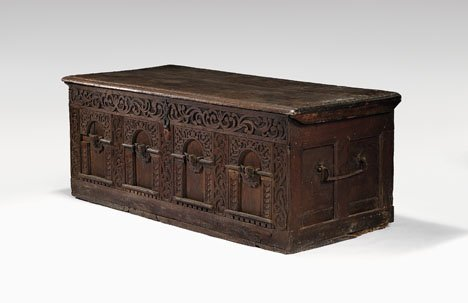 1: Continental walnut coffer, early 17th century, The l