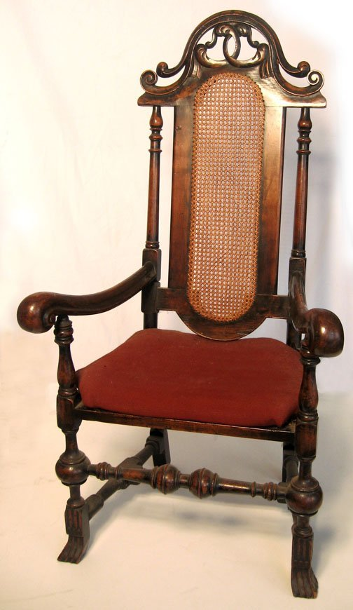 2: William & Mary style carved walnut armchair, late 19