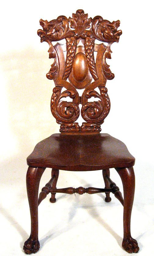 3: Continental gothic style hall chair, , The back carv