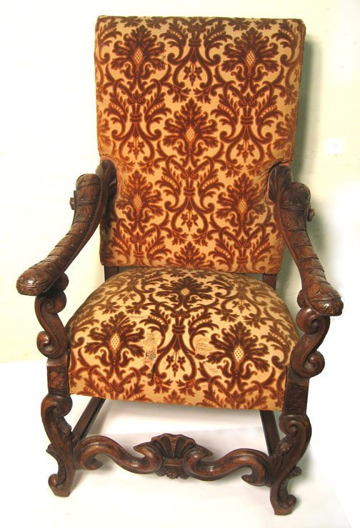 9: Italian Baroque style carved walnut hall chair, , Wi