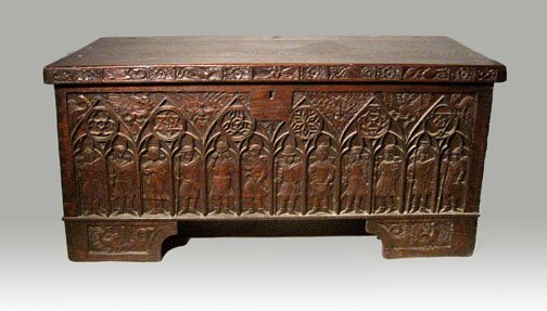 11: English Gothic Revival carved oak coffer, 19th cent