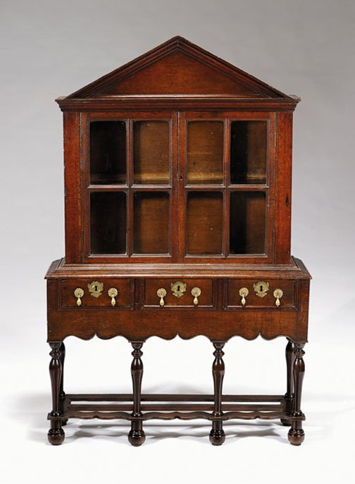 13: Rare Charles II diminutive oak cabinet-on-stand, ci