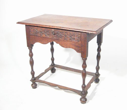 14: Willam and Mary style oak work table, 19th century,