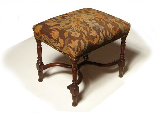 15: William and Mary style upholstered stool, late 19th