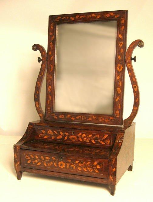 17: Dutch mahogany and marquetry shaving mirror, late 1