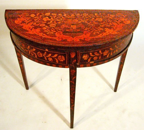 18: Dutch marquetry demilune side table, late 18th cent