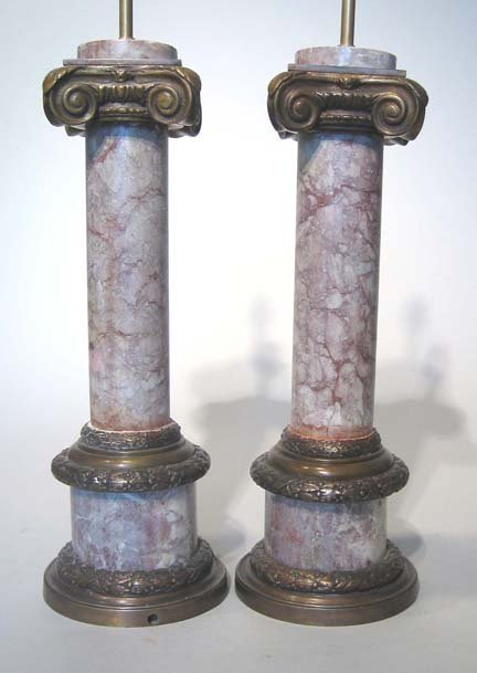 19: Pair of neoclassical style Ionic column bronze and