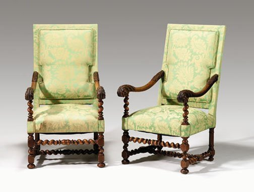 21: Pair of Northern European carved walnut high back a