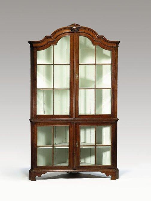 22: Dutch neoclassical oak corner cabinet, third quarte
