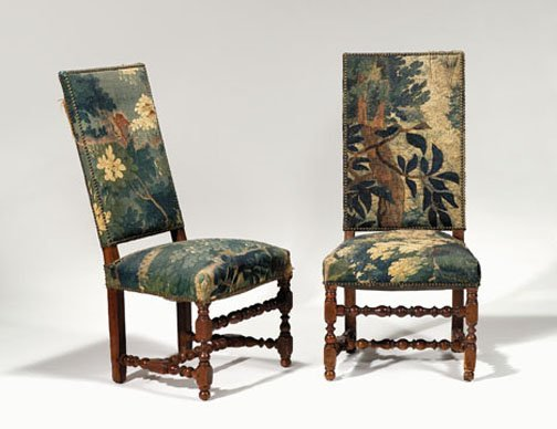 23: Pair Northern European walnut hall chairs, late 17t