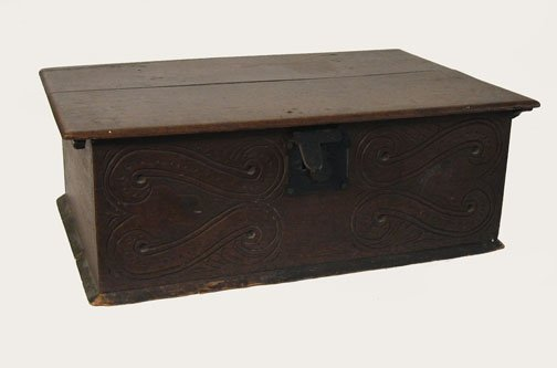 24: Continental carved oak bible box, late 17th / early