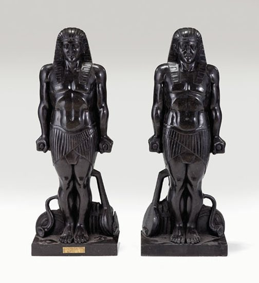 165: Pair of neoclassical style carved stone figures, ,