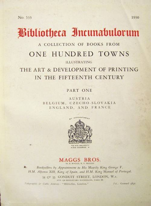 1001: 1 vol. (Bookseller's Catalogue.) Maggs Bros. Incu