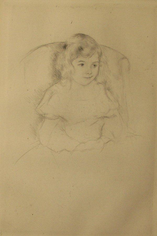 """2023: MARY CASSATT, (AMERICAN 1844-1926), SARA SMILING"""""""