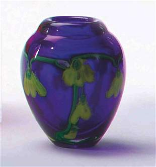 ART GLASS COBALT BLUE, YELLOW FLORAL-DECORATED PA