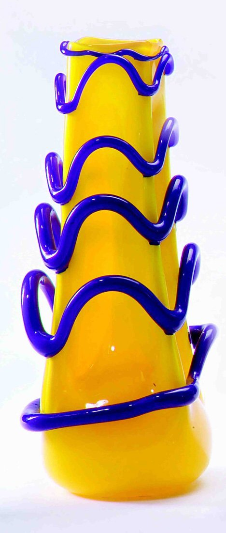 1006: ART GLASS VASE The Yellow Art Glass vase with und