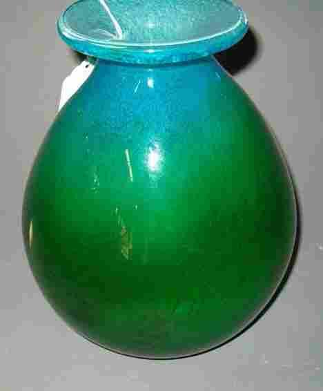SWEDISH ART GLASS VASE SIGNED EKEMAS Green bulbou