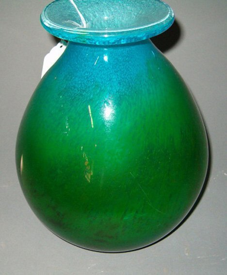 1013: SWEDISH ART GLASS VASE SIGNED EKEMAS Green bulbou