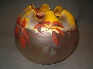 PAYNAUD BLOWN GLASS SPHERE-FORM BOWL Brown, gray