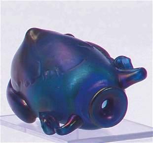 Loetz Amphora Blue Bottle H: 4 in. x L: 7 in.