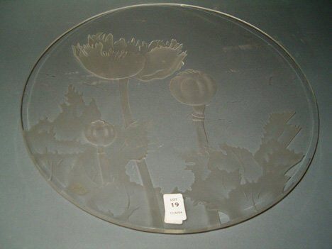 ETCHED GLASS FLORAL ART DECO CHARGER BY DOROTHY T